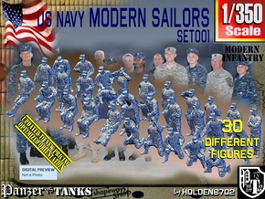 1/350 USN Modern Sailors Set001 in Smoothest Fine Detail Plastic