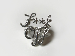 NEW F**k Off Script Ring (Single Finger) in Polished Silver: 5.5 / 50.25