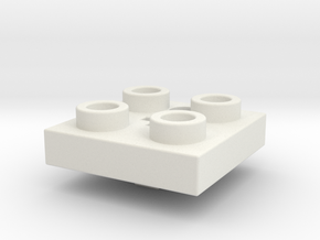 2x2 Building Block Cherry MX Key Cap in White Natural Versatile Plastic