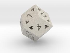 Rhombic 12 Sided Die - Large in Natural Sandstone