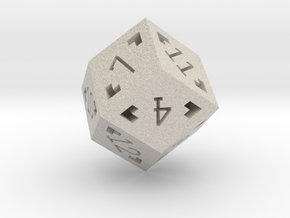 Rhombic 12 Sided Die - Regular in Natural Sandstone