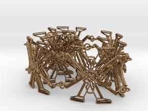 Metal X Bracelet Big 34 cm long in Interlocking Raw Brass: Large