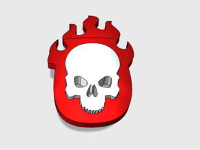 60x Flame Skull : Shoulder Insignia pack in Smooth Fine Detail Plastic