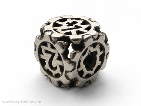 Unstable Sprocket D6 Gear Dice in Polished Bronzed Silver Steel