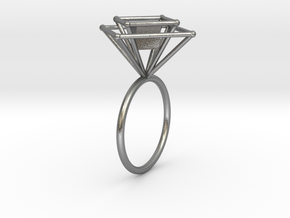 Levitating cube size 58 in Natural Silver