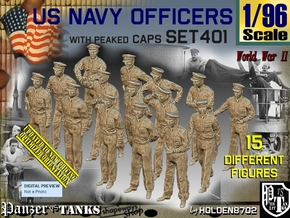 1/96 USN Officers Set401 in Smooth Fine Detail Plastic