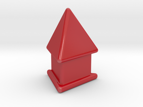Tetrahedron on pedestal in Gloss Red Porcelain: Small