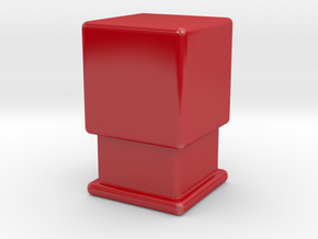 Cube on pedestal in Gloss Red Porcelain: Small
