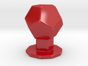 Dodecahedron on pedestal in Gloss Red Porcelain: Small