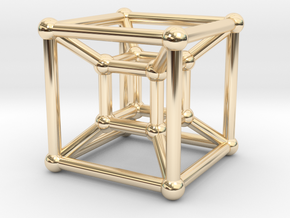 HyperCube (Miniature) in 14k Gold Plated Brass