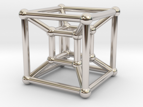 HyperCube (Miniature) in Rhodium Plated Brass