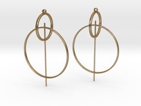 Modern Geometric Statement Earrings in Polished Gold Steel