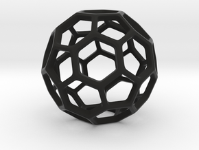 Geodesic Wire ::: Circle Pendant in Black Natural Versatile Plastic