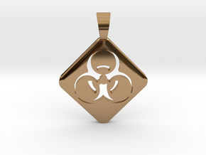 BIOHAZARD ! [pendant] in Polished Brass