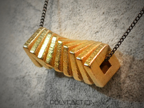 polyNINE ::: Square Pendant ::: v.01 in Polished Gold Steel