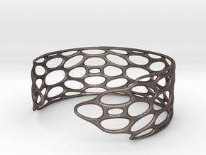 BRACELET_TIS_bracelet_CUBE_03c_cuff in Polished Bronzed Silver Steel: Small
