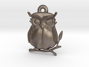 Cute Owl Pendant in Polished Bronzed Silver Steel: Medium