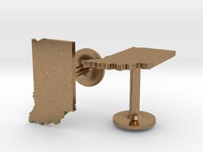 Indiana State Cufflinks in Natural Brass