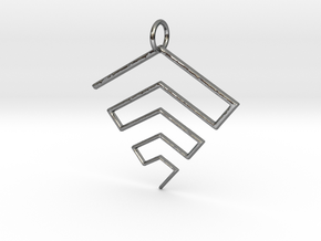Inverted 2D Pyramid Pendant in Fine Detail Polished Silver