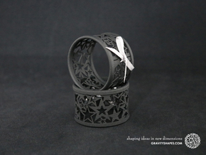 Set of 4 large Christmas napkin rings with Stars in Black Strong & Flexible