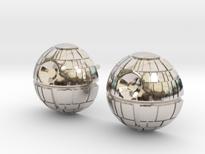 Death Star Studs in Rhodium Plated Brass