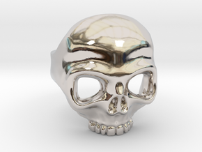Ring Skull n2 in Rhodium Plated Brass