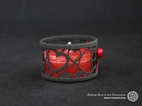 Small tealight holder with Hearts  in Black Natural Versatile Plastic