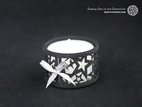 Small tealight holder with Stars  in Black Natural Versatile Plastic