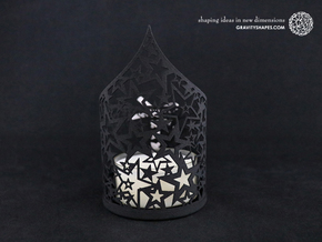 Christmas tealight holder with stars in Black Natural Versatile Plastic