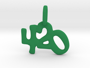 """420"" Pendant in Green Processed Versatile Plastic"