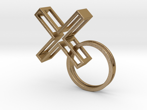 XO Pendant in Polished Gold Steel