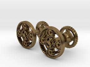 Gearcog cufflinks in Natural Bronze