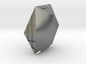 Zen Hexagonal jewel in Raw Silver: Large