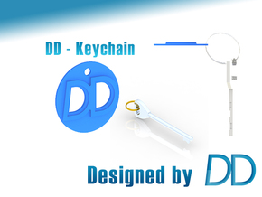 DD - Logo Keychain in Blue Strong & Flexible Polished
