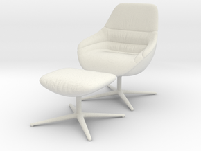 Miniature Kyo Lounge Chair 170 - Walter Knoll  in White Natural Versatile Plastic: 1:12