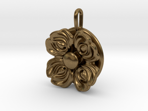 Floral Spinner Pendant in Natural Bronze (Interlocking Parts)