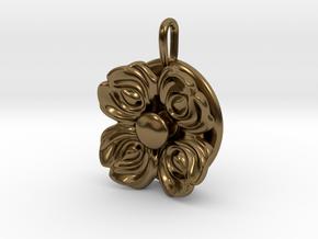 Floral Spinner Pendant in Interlocking Polished Bronze