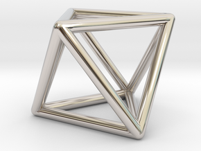 Octahedron in Rhodium Plated Brass