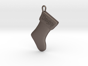 """""""Naughty"""" Christmas Stocking Pendant in Polished Bronzed Silver Steel"""