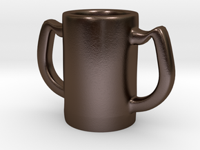 Two handles mug in Polished Bronze Steel: Small