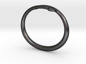 "Bracelet ""Snake"" in Polished and Bronzed Black Steel: Medium"