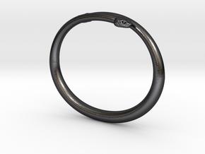 """Bracelet """"Snake"""" in Polished and Bronzed Black Steel: Medium"""