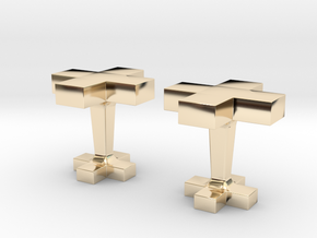 Plus cufflink in 14k Gold Plated Brass