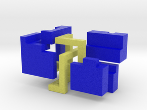 Puzzle mobius knot cube (blue and yellow) in Full Color Sandstone: Medium