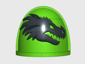 Dragon Head- G4 Right Shoulder Pads x10 in Smooth Fine Detail Plastic