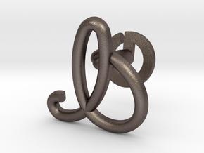 Cursive I Cufflink in Polished Bronzed Silver Steel