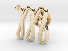 Cursive M Cufflink in 14K Yellow Gold