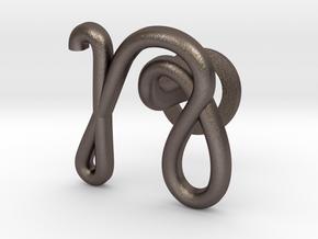 Cursive N Cufflink in Polished Bronzed Silver Steel