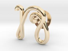 Cursive N Cufflink in 14K Yellow Gold