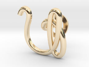 Cursive U Cufflink in 14k Gold Plated Brass